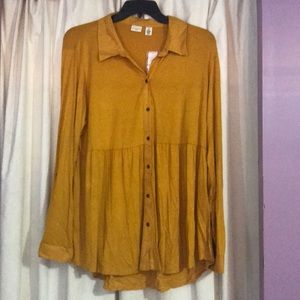 Westbound button down mustard color top